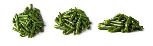 Haricots verts frits sur le fond blanc Photographie stock