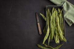 Haricots verts plats Légumes crus riches en protéines Photos libres de droits