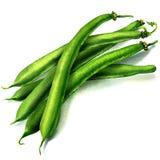 Haricots verts sur le fond blanc Photographie stock