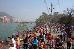 Haridwar Ardh Kumbh Mela. An shot of pilgrims bathing at the 2016 Ardh Kumbha Mela in Haridwar, India along the Ganges river Stock Images
