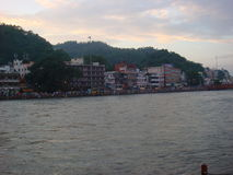 Haridwar in evening. The other edge of holy river Ganga Stock Photo