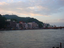 Haridwar in evening time. Evening view of Ganga the holy river royalty free stock images