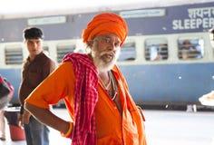 HARIDWAR, INDIA - April 04, 2014 - Sadhu portrait at the railway station. Stock Image