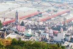 Haridwar in India. HARIDWAR, INDIA - NOVEMBER 13, 2015: Haridwar aerial panoramic view in the Uttarakhand state of India stock images