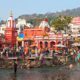 Haridwar in India. HARIDWAR, INDIA - NOVEMBER 13, 2015: Unidentified people bathing in Ganges river at the Har Ki Pauri ghat in Haridwar, India royalty free stock image