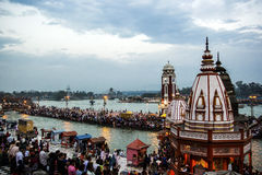 HARIDWAR, INDIA - MARCH 23, 2014: Har Ki Pauri is a famous ghat on the banks of the Ganges.  royalty free stock photography