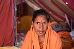 Portrait of female sadhu at Kumbh Mela Royalty Free Stock Photos