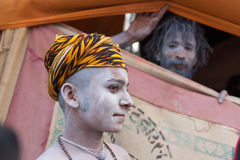 Portrait of two young naga sadhus at Kumbh Mela Stock Photo