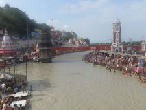 Haridwar. People taking a holy dip in the sacred river Ganges in Haridwar, Uttarakhand, India Stock Photography