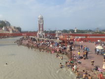 Haridwar. People taking a holy dip in the sacred river Ganges in Haridwar, Uttarakhand, India Stock Images