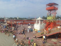 Haridwar. People taking a holy dip in the sacred river Ganges in Haridwar, Uttarakhand, India Royalty Free Stock Images