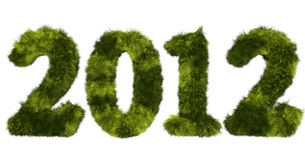 Harige van letters voorziende 2012 in bevlekte groen Royalty-vrije Stock Afbeelding