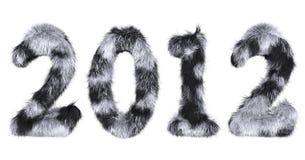 Harige van letters voorziende 2012 in bevlekte zwart-wit Stock Foto's