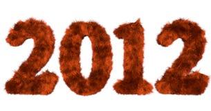 Harige van letters voorziende 2012 in rode sinaasappel Stock Foto's