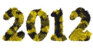 Harige van letters voorziende 2012 in zwarte en geel Royalty-vrije Stock Foto's