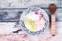 Harina de arroz cocida al vapor con la palma de toddy, Kanom Kee Noo Imagenes de archivo
