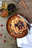 Harina de avena con bluberry y el plátano stock de ilustración