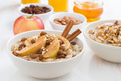 Harina de avena con las manzanas, las pasas y el canela frescos para el desayuno Imagenes de archivo