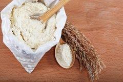 Harina de maíz en un bolso. Foto de archivo