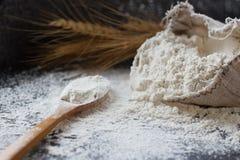 Harina de trigo en bolso de arpillera, cuchara de madera y oídos del trigo en el fondo oscuro, foco selectivo Imagen de archivo libre de regalías