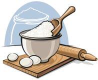 Harina en tazón de fuente con los huevos Imagenes de archivo