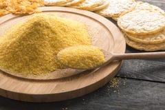 Harina y productos de maíz de ella Imagenes de archivo