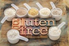 Harinas libres y tipografía del gluten Imagen de archivo libre de regalías