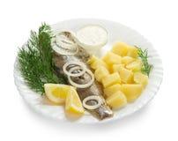Haringen en aardappels met saus voor een ontbijt Stock Fotografie