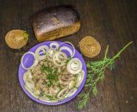 Haringen met Aardappel Stock Foto's
