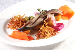 haringen met aardappels en uien stock afbeelding