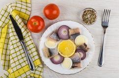 Haringen met eieren, citroen, ui, specerij, tomaten, mes en royalty-vrije stock afbeeldingen