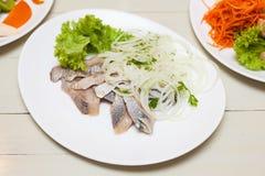 Haringen met ui op witte plaat Royalty-vrije Stock Fotografie