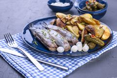 Haringenfilets op een plaat, in de de ovenaardappels en groenten in het zuur die wordt gebakken Heerlijk traditioneel voedsel van stock afbeelding