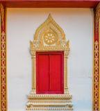 Haripunchai寺庙窗架 免版税库存图片
