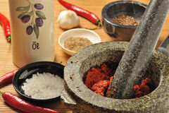 Harissa chili paste in a mortar Royalty Free Stock Image