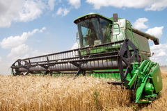 HARKÌV, UCRAINA - 12 LUGLIO 2011: Raccolta del giacimento di grano a Harkìv Oblast in Ucraina Fotografia Stock Libera da Diritti