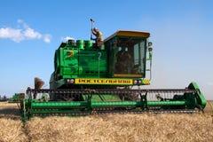 HARKÌV, UCRAINA - 12 LUGLIO 2011: Raccolta del giacimento di grano a Harkìv Oblast in Ucraina Fotografie Stock