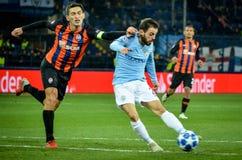 HARK?V, UCRAINA - 23 ottobre 2018: Bernardo Silva durante la partita di UEFA Champions League fra il ?akhtar contro Manchester fotografia stock