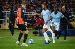 HARK?V, UCRAINA - 23 ottobre 2018: Raheem Sterling durante la partita di UEFA Champions League fra il ?akhtar contro Manchester fotografia stock libera da diritti