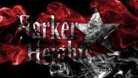 Harker-Höhenstadt-Rauchflagge, Texas State, Vereinigte Staaten von morgens stockfotos