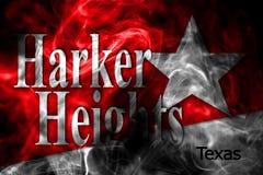 Harker-Höhenstadt-Rauchflagge, Texas State, Vereinigte Staaten von morgens lizenzfreie stockfotografie