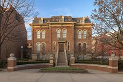 Exterior of historic Harker Hall. Harker Hall built in 1877 at 1305 W. Green Street on the campus of the University of Illinois at Urbana-Champaign in Urbana Royalty Free Stock Photography