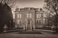 Historic Harker Hall in sepia. Harker Hall built in 1877 at 1305 W. Green Street on the campus of the University of Illinois at Urbana-Champaign in Urbana Royalty Free Stock Image