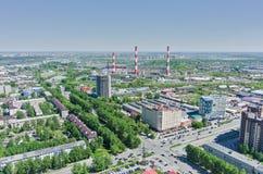 Harkovskaya gata och kraftverk Tyumen Ryssland Royaltyfri Fotografi