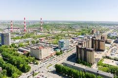 Harkovskayastraat en elektrische centrale Tyumen Rusland Stock Afbeeldingen