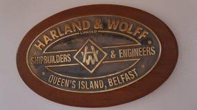 Harland et plaque de constructeurs de navires de Wolff Photo libre de droits