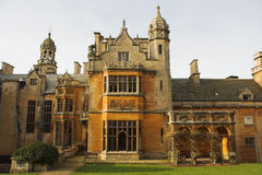 Harlaxton Manor. (England) was built from 1837-45 in the Jacobean style from local stone. View from the back Royalty Free Stock Photo