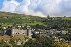 Harlech Castle and village Royalty Free Stock Images