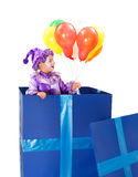 Harlekin mit Ballonen Lizenzfreie Stockbilder