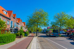 Harlem, Amsterdam, Netherlands - July 14, 2015: Very charming and traditional Dutch neighbourhood, red bricks nice Royalty Free Stock Images
